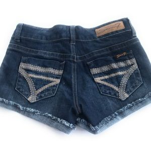 Seven7 Nordstrom cut off Frayed shorts 26 blue